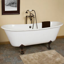 "Signature Hardware 68"" Ethan Cast Iron Clawfoot Tub Lion Paw Feet"