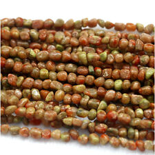 Natural Genuine Green Pink Yellow Red Autumn Jasper Nugget Free Form Stone Beads