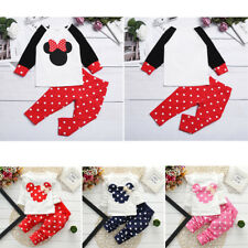 Girls Two-Piece Minnie Mouse Costume Kids Baby Polka Dots Tops+Pants Outfits Set