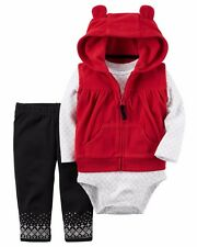 Carters 3 piece Set Nwt Baby Girls NB 24 Month Red Vest Coat Bodysuit and Pants