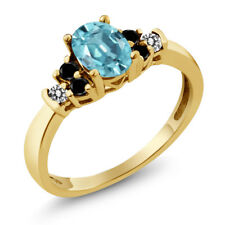 1.01 Ct Oval Blue Zircon Black Diamond 18K Yellow Gold Plated Silver Ring