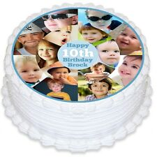 Photo Collage Round Edible Icing Cake Topper - PRE-CUT