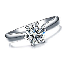 FLAWLESS 1 Carat CZ Ring jewelry band created Solitaire Stone White Gold Plated!