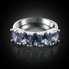 Charming Women Jewelry Natural Oval Rainbow Mystic Gems Silver Friendship Rings