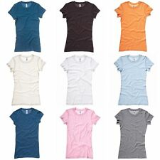 Bella + Canvas Womens/Ladies Sheer Mini Rib Crew Neck T-Shirt S-XL (RW3096)