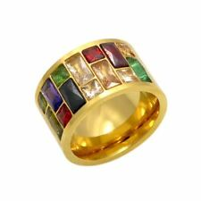 Multicolor Crystal  316L Stainless Steel Wedding Ring Female Rainbow Color Stone