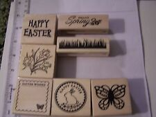 WM RUBBER STAMPS HAPPY EASTER WISHES FRAME SPRING GRASS BUNNY SEAL DAFFODILS