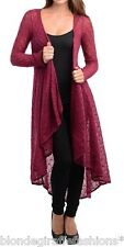Burgundy Open Crochet Drape Hi-Low Maxi Tunic Mermaid Sweater Cardigan Cover-Up