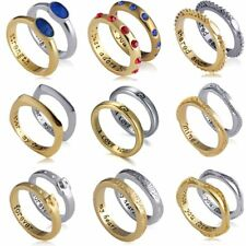 1Pair Silver/Gold Engrave Love Heart Promise Couple Rings Valentine Day Gift New