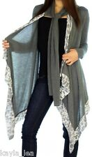 Gray w/ Leopard Long Sleeve Shrug/CoverUp Drape Attached Scarf Tunic Cardigan S