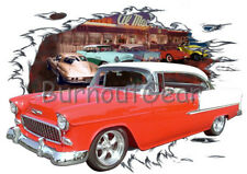 1955 Red Chevy Bel Air H T c Custom Hot Rod Diner T-Shirt 55 Muscle Car Tee's