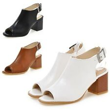 Comfort Ankle Strap Buckle Open Toe High Heels Casual Shoes Sandals UK 1-8