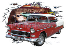 1955 Red Chevy Bel Air H Td Custom Hot Rod Diner T-Shirt 56 Muscle Car Tee's