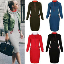 UK Womens Casual Wrapped Pullover Bodycon Strappy Sexy Pocket Mid Pencil Dress