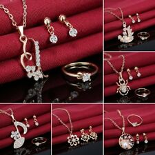 Prom Gold Crystal Heart Necklace Earrings Ring Bridal Wedding Women Jewelry Set