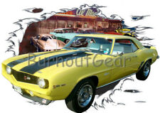 1969 Yellow Chevy Camaro Z28 c Custom Hot Rod Diner T-Shirt 69 Muscle Car Tee