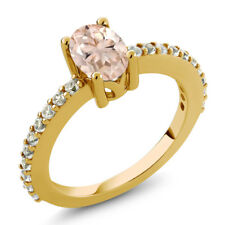 0.95Ct Peach Morganite White Created Sapphire 18K Yellow Gold Plated Silver Ring