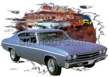 1969 Blue Chevy Chevelle a Custom Hot Rod Diner T-Shirt 69 Muscle Car Tees