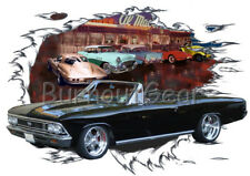 1966 Black Chevy Chevelle Convertible Hot Rod Diner T-Shirt 66 Muscle Car Tee's