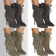Women's Lace Up Ankle Boots High Heels Stiletto Pointed Toe Cocktail Shoes Size