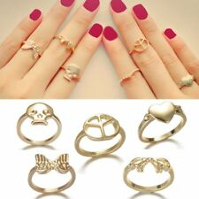 Women Fashion Gold Plated Skull Love Heart Hollow Bowknot Ring Jewelry Gift New