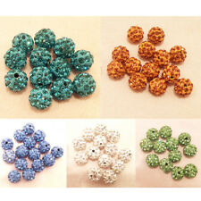 Lot 10x Fashion Czech Crystal Rhinestone Pave Clay Round Disco Ball Spacer Beads