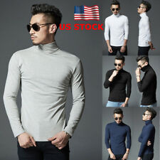 US Men Long Sleeve High Collar Turtle Neck T-shirt Slim Fit Casual Tops Pullover