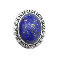 Oval Lapis Lazuli Vintage Natural Stone  Antique Silver Plated Party Rings