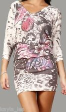 Pink/Black Floral/Leopard Sublimation/Tattoo 3/4 Sleeve Cardigan Tunic/Mini