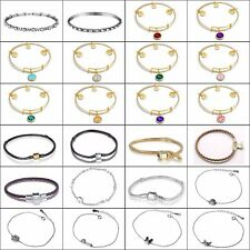 Leather Bracelets Chains Gold Plated Bangle For European 925 Silver Bead Charms
