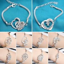 Women Sliver Love Heart Butterfly Rhinestone Cuff Bangle Bracelet Charm Jewelry