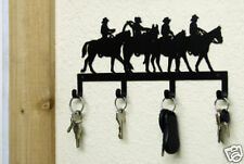 WESTERN KEY HOLDER METAL ART COWBOY RIDERS HORSES RANCH CABIN RUSTIC LODGE DECOR