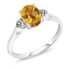 14K White Gold 1.38 Ct Checkerboard Yellow Citrine White Diamond 3-Stone Ring