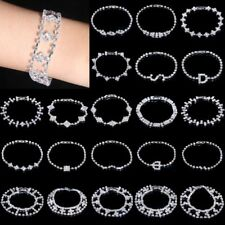 Women Fashion White Gold Plated CZ Chain Bracelet Bangle Wedding Bridal Jewelry