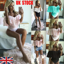 Womens Off Shoulder Bodysuit Ruffles Lace V-neck Jumpsuit Romper Leotard Tops UK