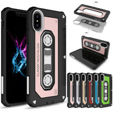 Shockproof Armor Hard Case Protective Retro Cassette Tape Cover For iPhone X