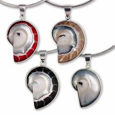 Necklace Pendant 925 SILVER LADIES JEWELLERY MOTHER OF PEARL SHELL SNAIL