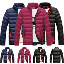 Men Hooded Coat Winter Warm Down Padded Jacket Slim Thick Casual Outerwear Parka