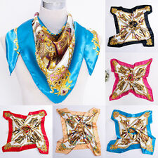 Women's Square Imitated Silk Satin Carriage Chain Neck Head Scarf Shawl Striking