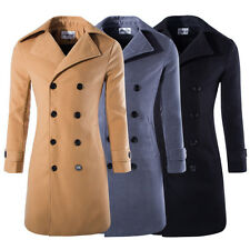 Mens Double-Breasted Jacket Winter Warm Wool Cotton Jacket Trench Coat AU