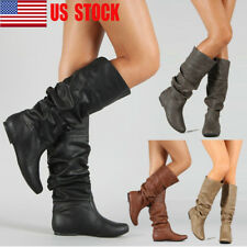 US Women Mid Calf Knee High Slouch PU Leather Boots Comfy Casual Flat Shoes Size