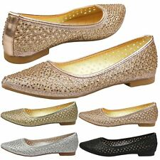 WOMENS SHOES LADIES FLATS BALLET PUMPS DOLLY DIAMANTE BRIDAL PROM BRIDESMAID NEW