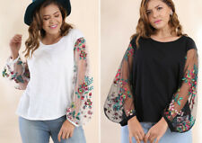 UMGEE Sheer Floral Embroidered Sleeves Stretch Knit Shirt Top Boho Chic Gypsy