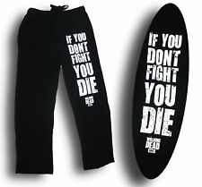 Mens Womens NEW The Walking Dead Fight Or Die Black Pajama Lounge Pants S-XL