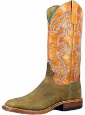 """Anderson Bean Western Boots Mens 13"""" Square Bison Tangerine S1092"""