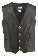 Made in USA Black Perforated Naked Leather Buffalo Nickel Motorcycle Vest with G