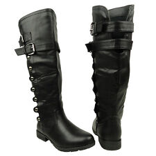 New Women's Knee High Studs Riding Boots w/ Buckle Straps Black Sizes 5.5-10