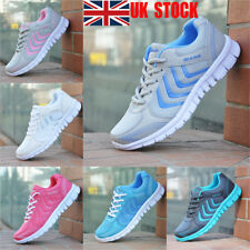 UK Women Lace Up Mesh Sport Trainers Flat Running Sneakers Casual Gym Shoes Size