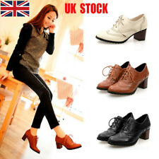 UK Women Lace Up Strappy Punk Boots Block Med Heels Casual Oxford Shoes Size New