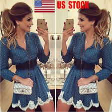 Women Floral Lace Long Sleeve Deep V Party Cocktail Swing A-line Mini Dresses US